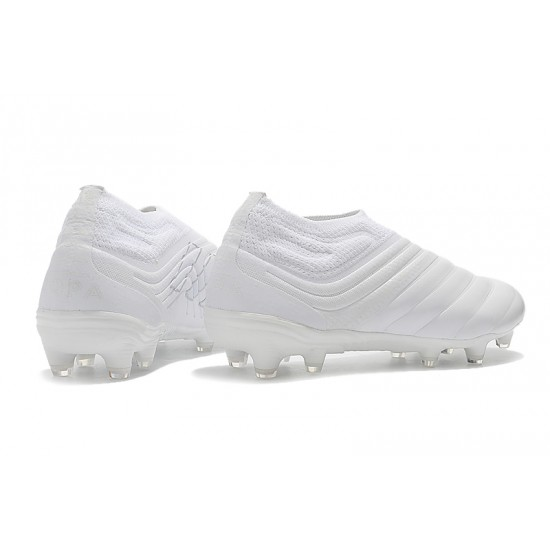 Adidas Copa 19 FG Laceless Laceless Football Boots All White
