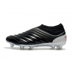Adidas Copa 19 FG Laceless Football Boots Leather Black Silver Red