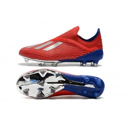 Adidas X 18 FG Laceless Football Boots Red Silver Blue