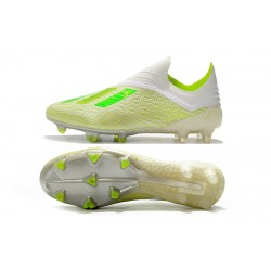 Adidas X 18 FG Laceless Football Boots White Yellow Green