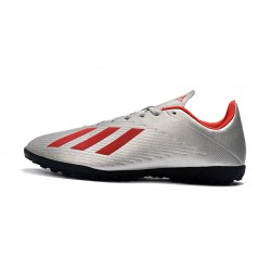 Adidas X 19.4 TF Football Boots Silver Red