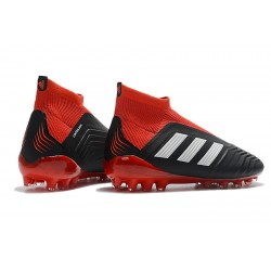 Adidas Predator 18+AG Laceless Football Boots Black White Red