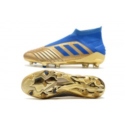 Adidas Predator 19+ FG Laceless Football Boots 25th Anniversary Golden Blue