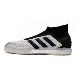 Adidas Predator 19+ IN Laceless Football Boots Silver Black