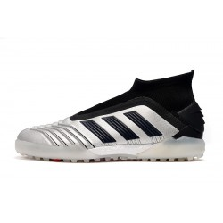 Adidas Predator 19+ TF Laceless Football Boots Silver Black