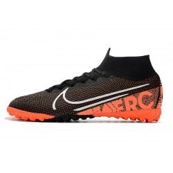 2020 Nike Mercurial Superfly 7 Elite MDS TF Flyknit Football Boots Black Orange