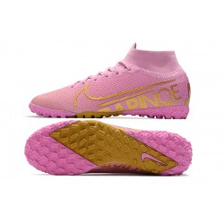 2020 Nike Mercurial Superfly 7 Elite MDS TF Flyknit Football Boots Pink Golden