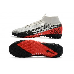 2020 Nike Mercurial Superfly 7 Elite MDS TF Flyknit Football Boots Silver Red