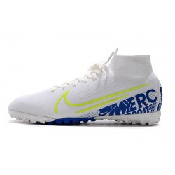 2020 Nike Mercurial Superfly 7 Elite MDS TF Flyknit Football Boots White Blue