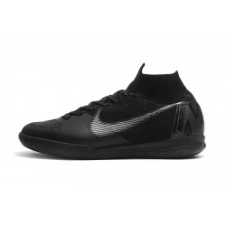 NIke SuperflyX 6 Elite IC Football Boots Black Silver