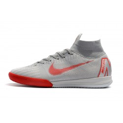 NIke SuperflyX 6 Elite IC Football Boots Silver Grey Red