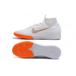 NIke SuperflyX 6 Elite IC Football Boots White Orange Silver