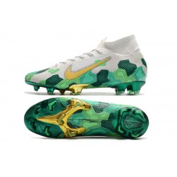Nike Mercurial Superfly 7 Elite FG Mbappe White Green Gold Football Boots