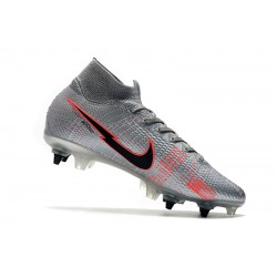 Nike Mercurial Superfly 7 Elite Flyknit 360 SG-PRO AC Metallic Silver Red Football Boots