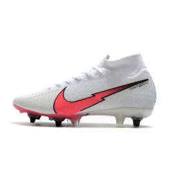 Nike Mercurial Superfly 7 Elite Flyknit 360 SG-PRO AC White Pink Blue Football Boots