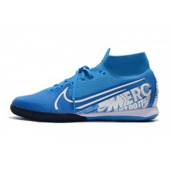 Nike Mercurial Superfly 7 Elite MDS IC Flyknit Football Boots Blue White