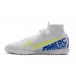 Nike Mercurial Superfly 7 Elite MDS IC Flyknit Football Boots White Blue
