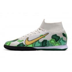 Nike Mercurial Superfly 7 Elite MDS IC Flyknit Football Boots White Green