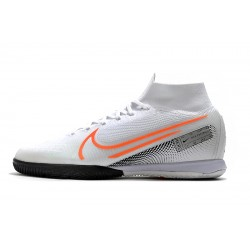 Nike Mercurial Superfly 7 Elite MDS IC Flyknit Football Boots White Silver