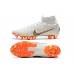 Nike Mercurial Superfly VI 360 Elite AG Football Boots White Silver Orange