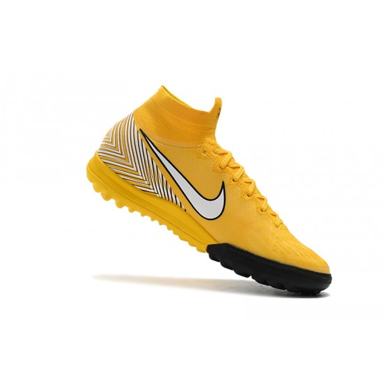 Nike Mercurial Superfly VI Flyknit 360 Elite Neymar TF Football Boots Yellow White