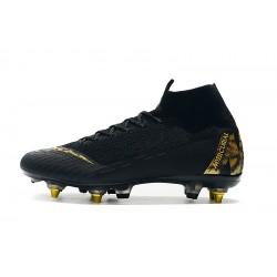 Nike Mercurial Superfly VI Flyknit Elite SG AC Football Boots Black Golden